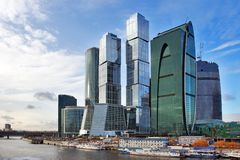 Moscow business centre. Building of New Moscow business centre near Moscow-river Royalty Free Stock Photos