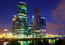Moscow business centre  in summer night Stock Photo