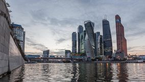 Moscow business district on sunset stock video