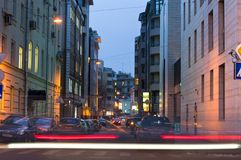 Moscow bystreet in night Royalty Free Stock Image