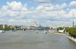 Moscow, cathedral of Jesus Christ Saviour and Krymskiy bridge Royalty Free Stock Photography