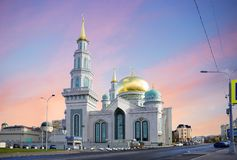 The Moscow Cathedral mosque. Moscow Cathedral mosque is the main mosque of Moscow, one of the largest and highest mosque in Russia and in Europe Stock Images