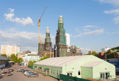 Moscow Cathedral Mosque reconstruction in Prospekt Mira Avenue Stock Photo