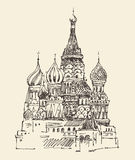 Moscow (Cathedral of Vasily the Blessed) city architecture, vintage engraved illustration. Hand drawn Royalty Free Stock Photography