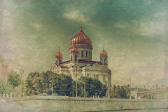 Moscow cathedral in vintage style Royalty Free Stock Images