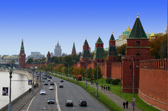 Moscow center. Red wall and Moscow panorama Royalty Free Stock Image