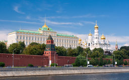 Moscow center. Red wall and Moscow panorama Stock Image
