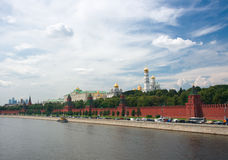 Moscow center. Red wall and Moscow panorama Royalty Free Stock Photo