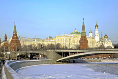 Moscow center. View of the illuminated by the Sun Moscow Kremlin Royalty Free Stock Image
