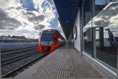 Moscow Central Circle - Little Ring, MCC,or MK MZD,  Russia. ZIL railway station Royalty Free Stock Images