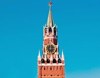 The Moscow chiming clock. Chiming clock of the Moscow Kremlin. A part of the Spassky tower Royalty Free Stock Photos