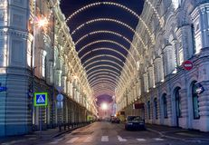 Moscow Christmas illumination. Old historical architecture in Moscow: Vetoshny pereulok (Vetoshny lane) in Moscow at winter night with Christmas illumination Stock Photos