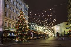 Moscow Christmas night. Festival `Journey to Christmas`, Kamergersky lan. E. Russia Royalty Free Stock Image