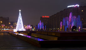 Moscow, Christmas tree and electric fountains Stock Image