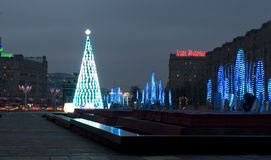 Moscow, Christmas tree and electric fountains Royalty Free Stock Images