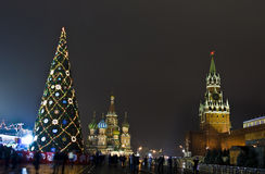 Moscow, Christmas tree on Red square Stock Photos