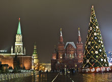 Moscow, Christmas tree on Red square Stock Photo