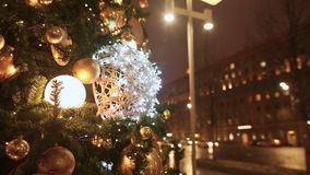 Moscow. Christmas tree. Walking passers-by. The movement of urban transport through the streets of the night city. New. Moscow. Christmas tree. Walking passers stock video