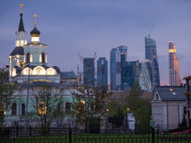 Moscow church and business district Royalty Free Stock Photos