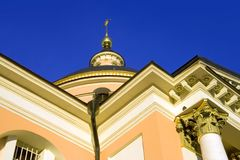 Moscow church  great martyr barbara golden cross Royalty Free Stock Photography
