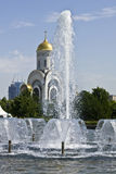 Moscow, church of St. George and fountains Royalty Free Stock Photography