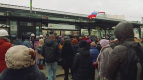 MOSCOW - CIRCA APRIL, 2018: Crowd of people waiting for opening new metro station. Crowd of people waiting for opening new metro station in Moscow stock video