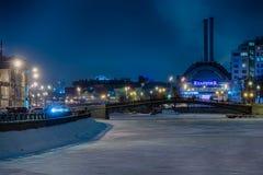 Stads- plats av Moscow på natten i vinter Royaltyfri Foto