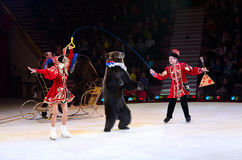 Moscow Circus on Ice with number Trained bears Stock Images