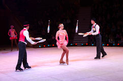 Moscow Circus on Ice on tour. Performance of jugglers Stock Image