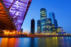 Moscow City. View on Moscow City at night Stock Photography