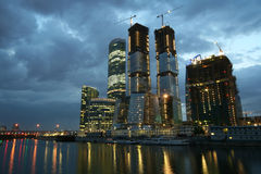 """Moscow-city. Night view: Construction of modern buildings """"Moscow-city"""" in Moscow (Russia Royalty Free Stock Image"""