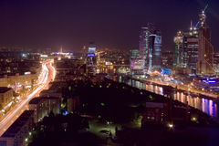 Moscow city aerial night Royalty Free Stock Photo