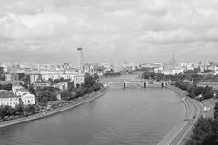 Moscow city b/w panorama Royalty Free Stock Photo