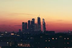 Moscow City. Beautiful sunset in Moscow city Stock Image
