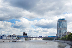 Moscow City bridge Royalty Free Stock Photos