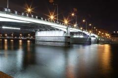 Moscow City bridge. City  bridge at night with light Royalty Free Stock Photos