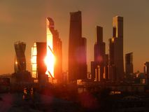 Moscow-city in the bright rays of the morning sun. View of the building of the business complex `Moscow-city` in the early morning. Bright rays of the sun Royalty Free Stock Photo