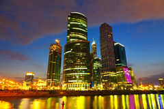 Moscow City buildings in summer night. Wide angle view on new Moscow City buildings in summer night Royalty Free Stock Images