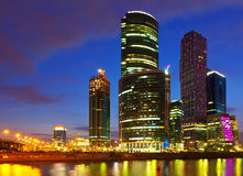 Moscow City buildings in summer night. View on new Moscow City buildings in summer night Stock Image