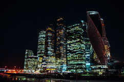 Moscow city buiseness centre. Night skyscrapers in Moscow city Stock Photos
