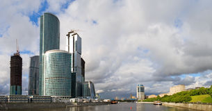 Moscow City Business Center. Panorama of the Moscow City Business Center on the Moscow river Royalty Free Stock Photo
