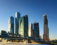 Moscow city business center. Winter season Stock Photography