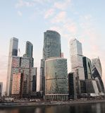 Moscow City Business Center. Blue sky background. Royalty Free Stock Image