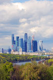 Moscow City Business Center. Blue sky background. MOSCOW - MARCH 20, 2015: View of the Moscow City Business Center. Example of modern architecture. Blue sky Stock Image