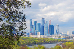Moscow City Business Center. Blue sky background. Stock Photography