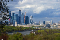 Moscow City Business Center. Blue sky background. Royalty Free Stock Photography