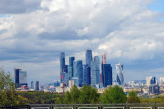 Moscow City Business Center. Blue sky background. Royalty Free Stock Photos