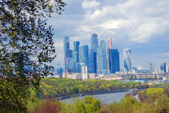Moscow City Business Center. Blue sky background. stock images