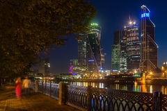 Moscow City business center nat night. Moscow City business center and the embankment of the river at night Stock Photography