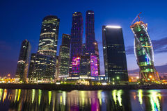Moscow City. Business center, a night urban landscape. Shot on July 7, 2013 royalty free stock photography